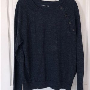 NWT A&F button detail navy blue sweater sz XL
